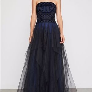 Formal Strapless Black and Navy Blue Tulle Dress